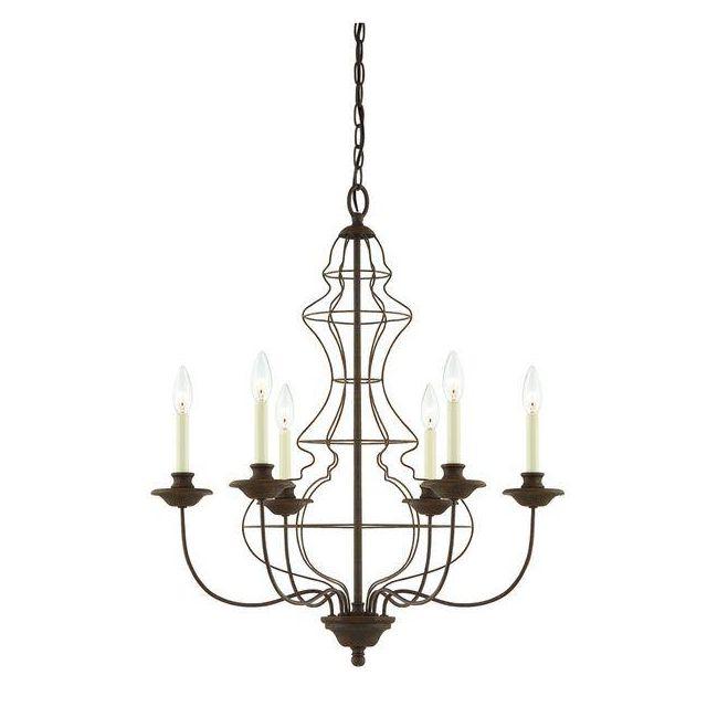 QZ/LAILA6 6 Light Rustic Antique Bronze Wire Chandelier