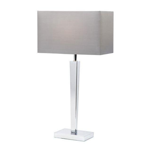 Endon MORETO Light Chrome Base Table Lamp With Fabric Shade