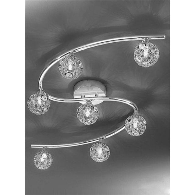 F2305/7 Atoms 7 Light Chrome Crystal Ceiling Light