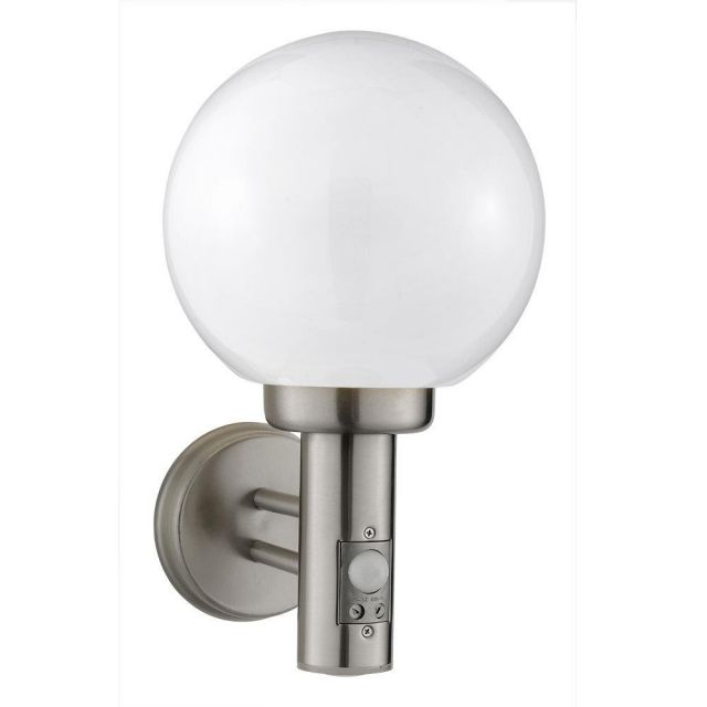 Searchlight 085 Globe Outside Wall Light Stainless Steel With Motion Sensor