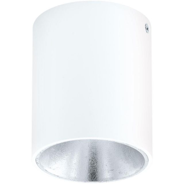 Eglo 94504 Polasso One Light Cylindrical LED Ceiling Light In White And Silver