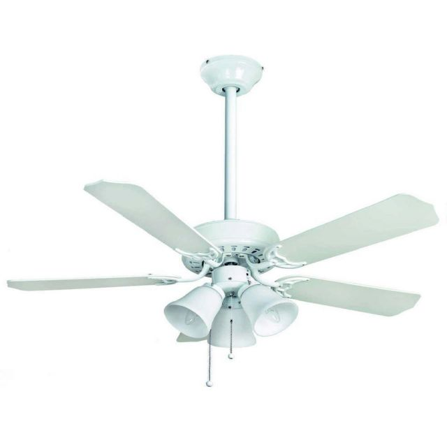 Fantasia 110477 Belaire Ceiling Fan In White And Cane With 42 Inch Blades And 3 Lights