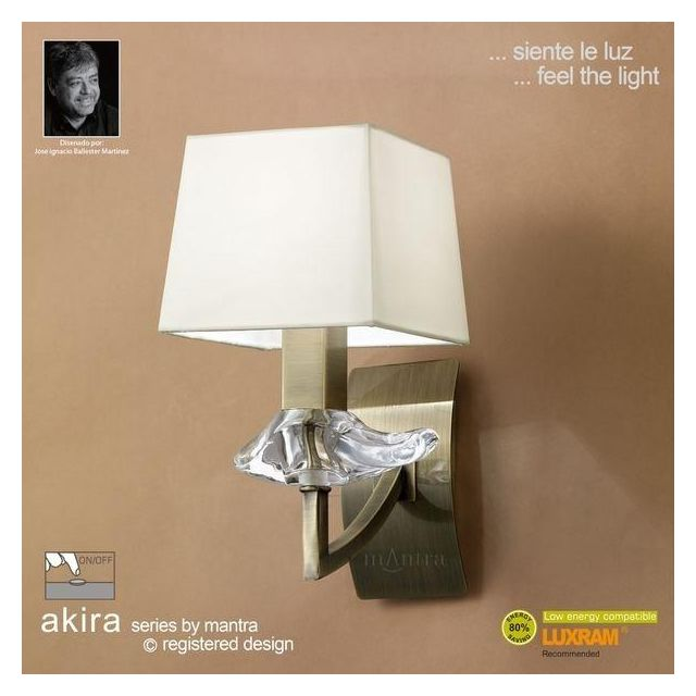 M0786AB/S Akira Antique Brass 1Lt Wall Lamp With Cream Shade