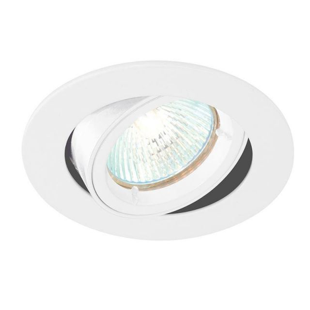 Saxby 52334 Cast Adjustable Recessed Downlight in Gloss White Paint