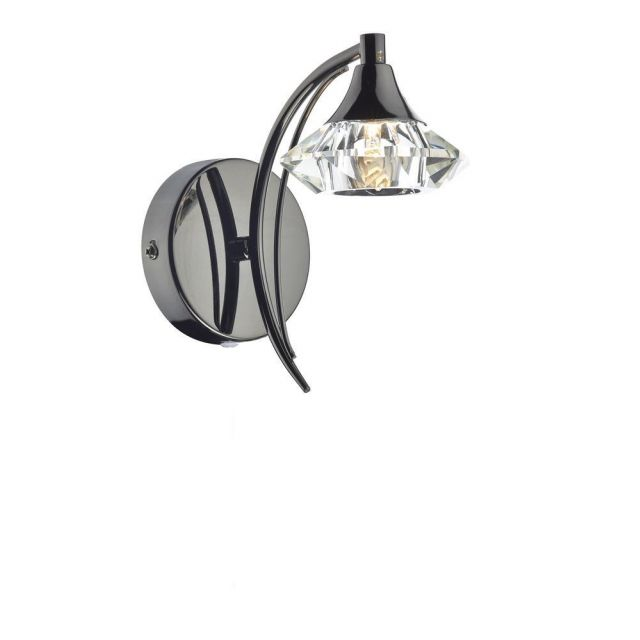 Dar LUT0767 Luther Single Switched Crystal Wall Light - Black Chrome