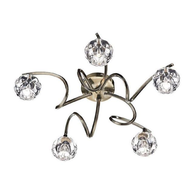 BAB5475 Babylon 5 Light Semi Flush Ceiling Light In Antique Brass With Crystal Shades