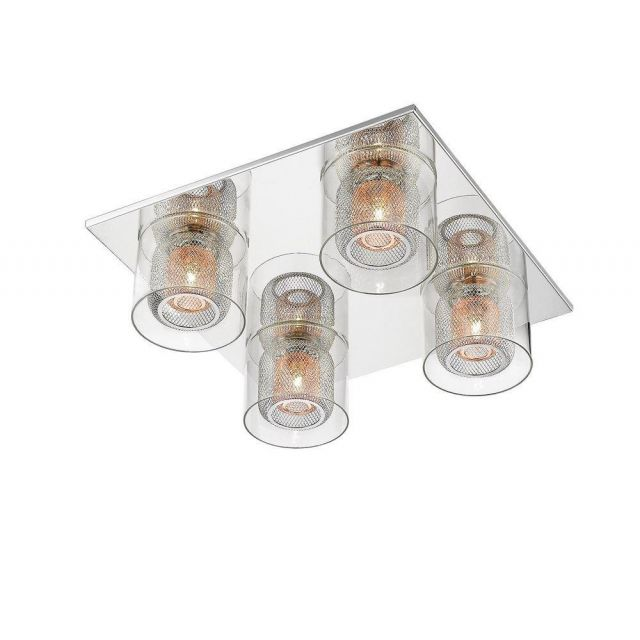 Impex PGH606101/04/PL/CH Laure Four Light Flush Ceiling Light In Chrome And Copper