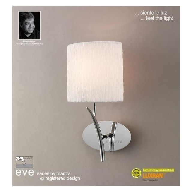 M1134/S Eve 1 Lt Chrome Switched Wall Lamp With Ivory Shade