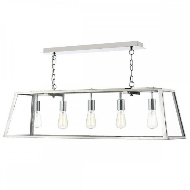 dar ACA0544 Academy 5 Light Box Pendant With Glass Panels In Polished Chrome