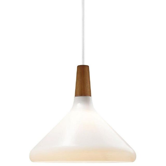 Nordlux 78213001 Float 27 1 Light Ceiling Pendant In Opal White And Walnut Wood - Dia: 270mm