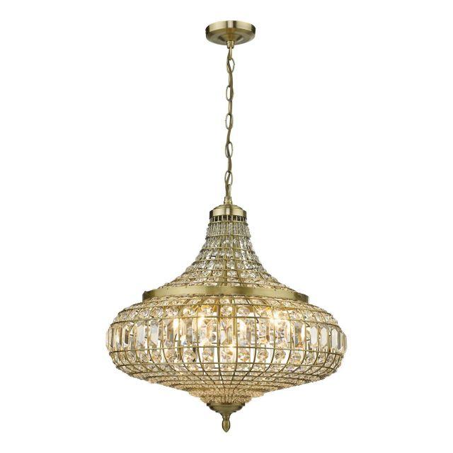 Dar Lighting ASM0675 Asmara 6 Light Crystal Pendant Antique Brass