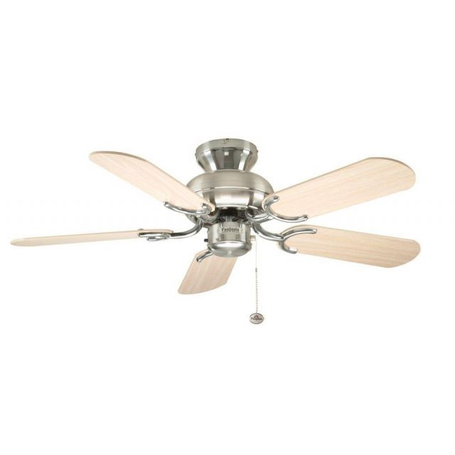 """Fantasia 110255 Capri 36"""" Ceiling Fan In Stainless Steel With Oak Blades"""