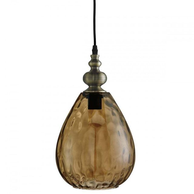 Searchlight 2019AM Indiana 1 Light Ceiling Pendant Light In Antique Brass With Amber Glass