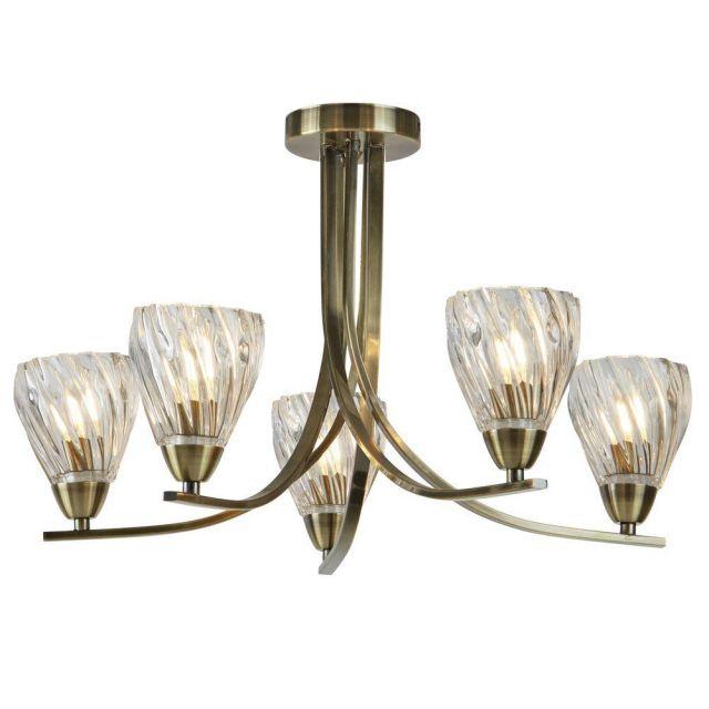Searchlight 4275-5AB Ascona II Five Light Semi Flush Ceiling Light In Antique Brass