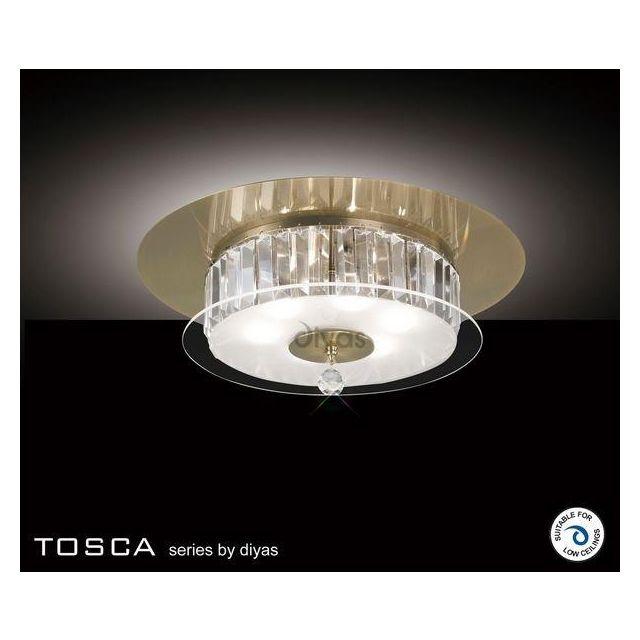 IL30244 Tosca Antique Brass 6 Lt Crystal Flush Ceiling Lamp
