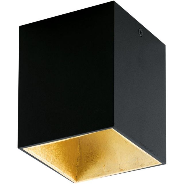 Eglo 94497 Polasso One Light Cubed LED Ceiling Light In Black And Gold