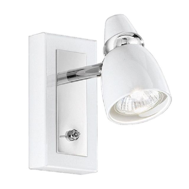 SP8931 1 Light Chrome and White Switched Wall Spotlight