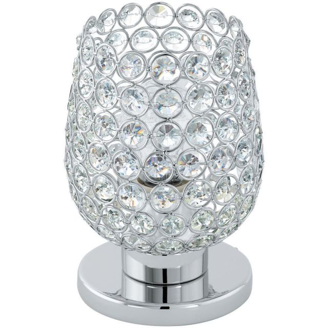 Eglo 94899 Bonares 1 One Light Table Lamp In Chrome With Crystal Glass Shade