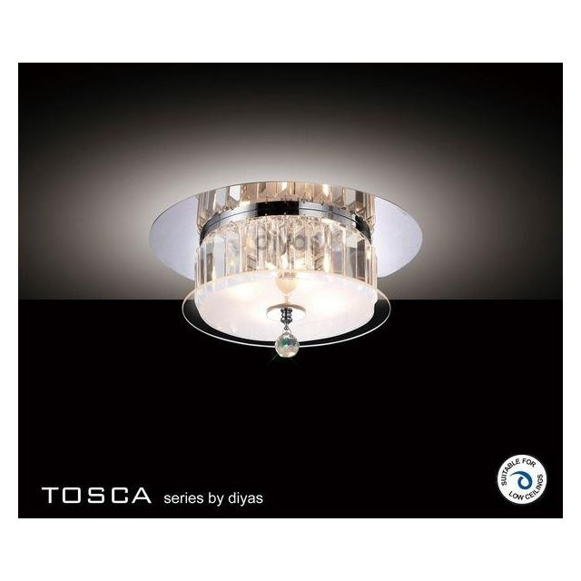 IL30241 Tosca Chrome And Crystal 4 Light Flush Ceiling Lamp