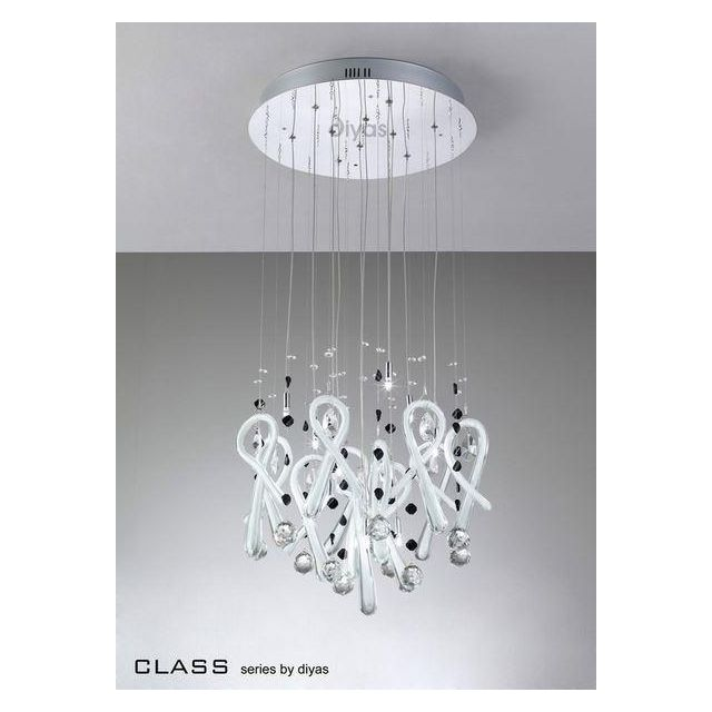 IL50402 Class White Glass And Crystal 10 Light Pendant