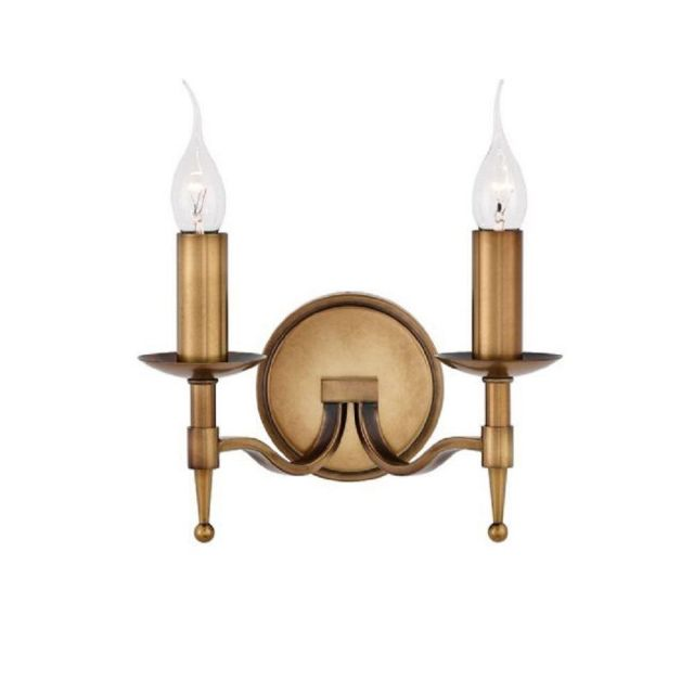 Interiors 1900 CA1W2B Stanford Brass Twin Wall Light in Brass - Fitting Only