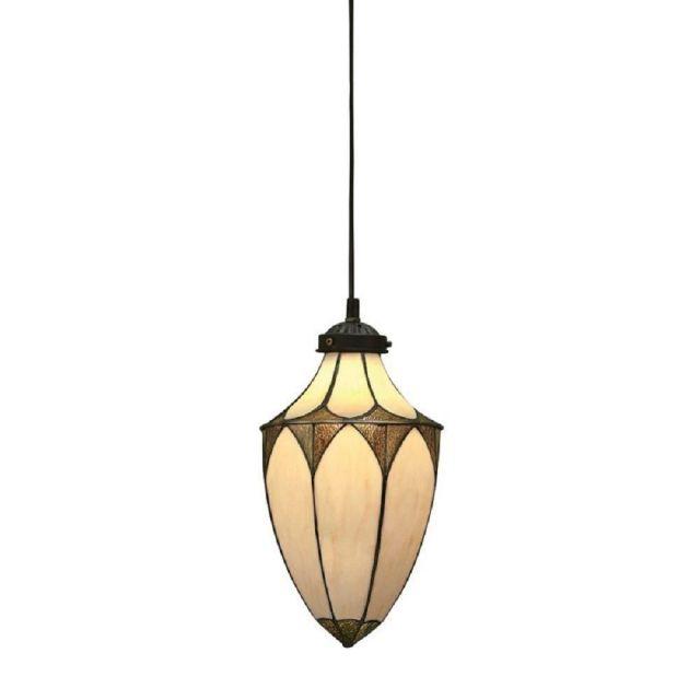 Interiors 1900 63975 Brooklyn Tiffany 1 Light Small Acorn Pendant Ceiling Light In Cream