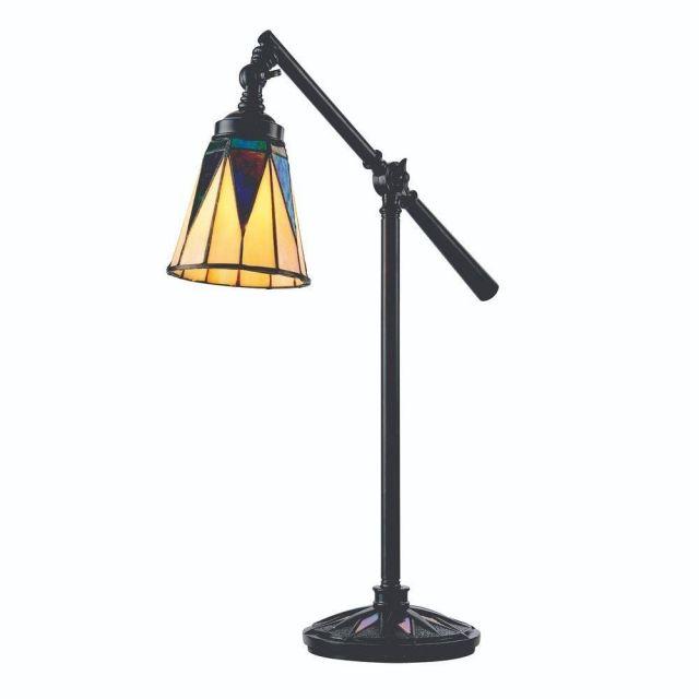 Interiors 1900 74354 Dark Star 1 Light Task Table Lamp With Tiffany Pearly Cream Glass Shade