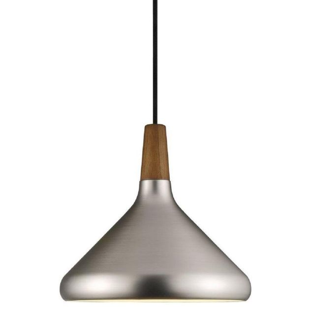 Nordlux 78213032 Float 27 1 Light Ceiling Pendant In Brushed Steel And Walnut Wood - Dia: 270mm