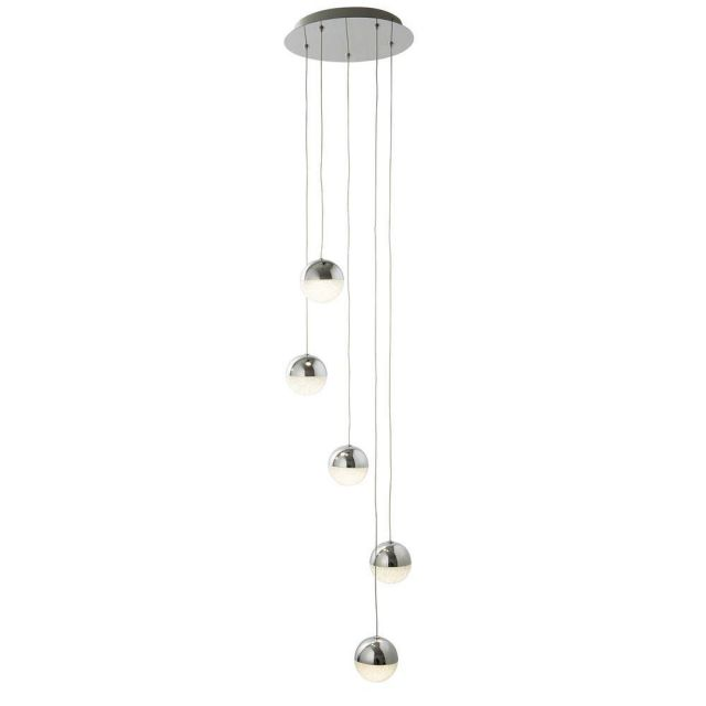 Searchlight 5845-5CC Marbles Five Light Ceiling Pendant Cluster Light In Chrome With Crushed Glass