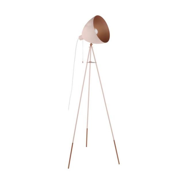 Eglo 49039 Chester-P 1 Light Floor Light In Pastel Apricot And Copper
