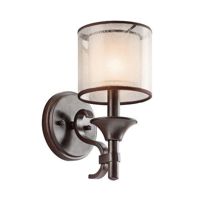 KL/LACEY1 MB Lacey Bronze Wall Light with Double Mesh Shade