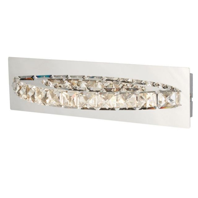 Searchlight 6002CC Clover Curved Horizontal Wall Light In Chrome And Crystal Glass
