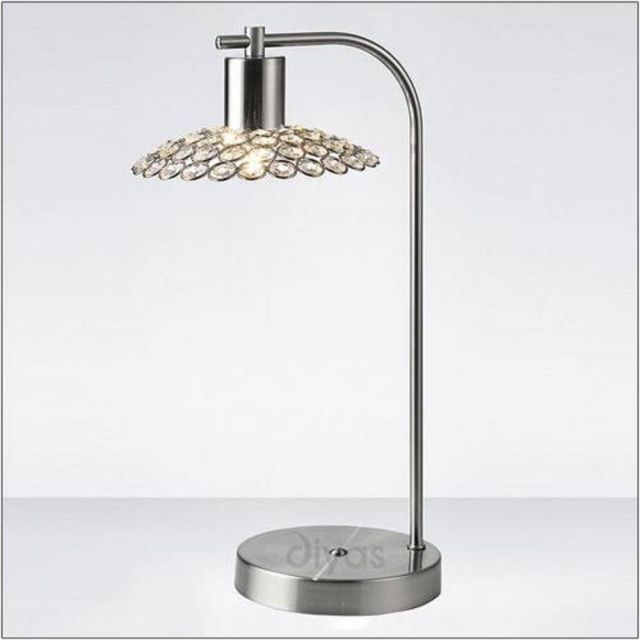 Diyas IL20608 Ellen 1 Light Table Lamp In Satin Nickel And Clear Crystal