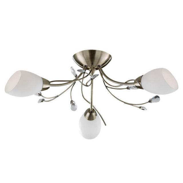 Searchlight 1763-3AB Gardenia Antique Brass Flush 3 Light Ceiling Light
