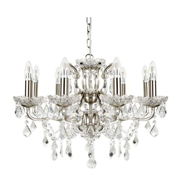 Searchlight 8738-8SS Paris Eight Light Ceiling Chandelier In Satin Silver With Crystal Glass