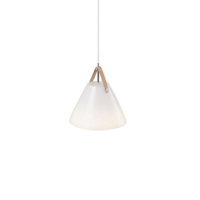 Nordlux 84313001 Strap 27 1 Light Ceiling Pendant Light In Opal White Glass With White Cable