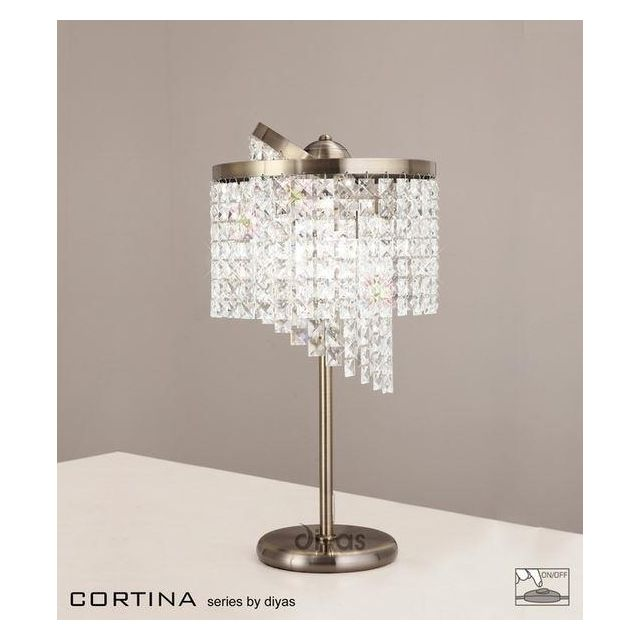 IL30096 Cortina 3 Light Antique Brass Crystal Table Lamp
