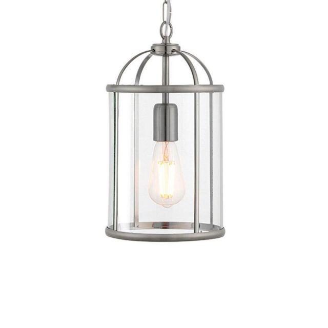Endon 70323 Lambeth 1 Light Ceiling Pendant In Satin Nickel And Clear Glass