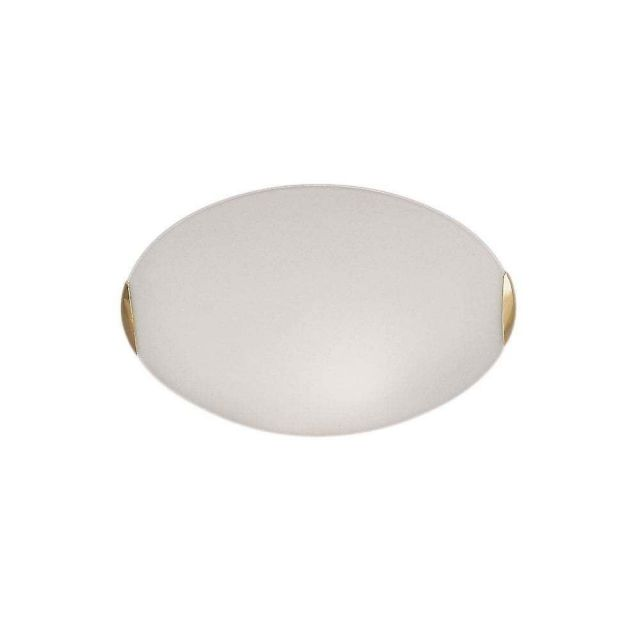 C5022 Small Flush Light With Opal Glass And Brass Finish Clips