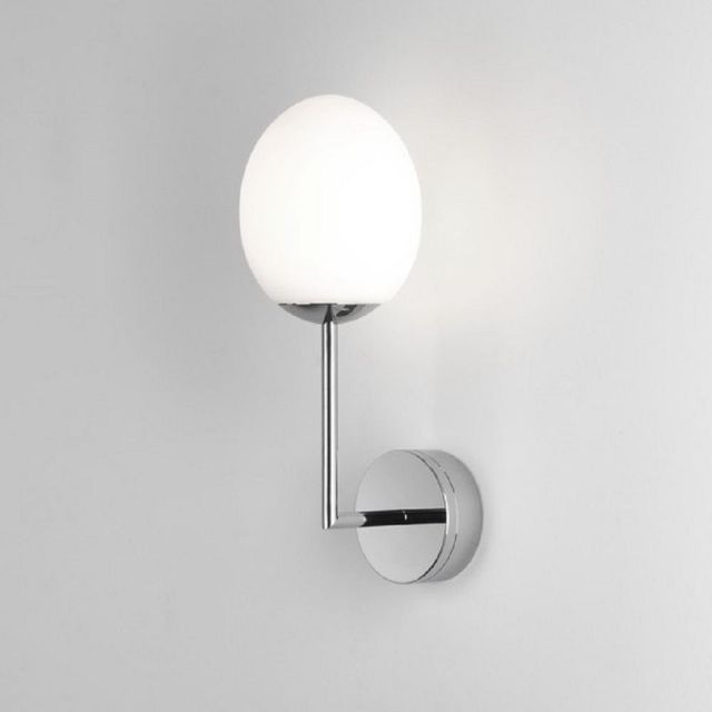 Astro 1390003 Kiwi One Light Wall Light In Polished Chrome With White Shade