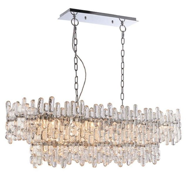 12 Light Linear Ceiling Pendant In Chrome Plate And Clear Glass