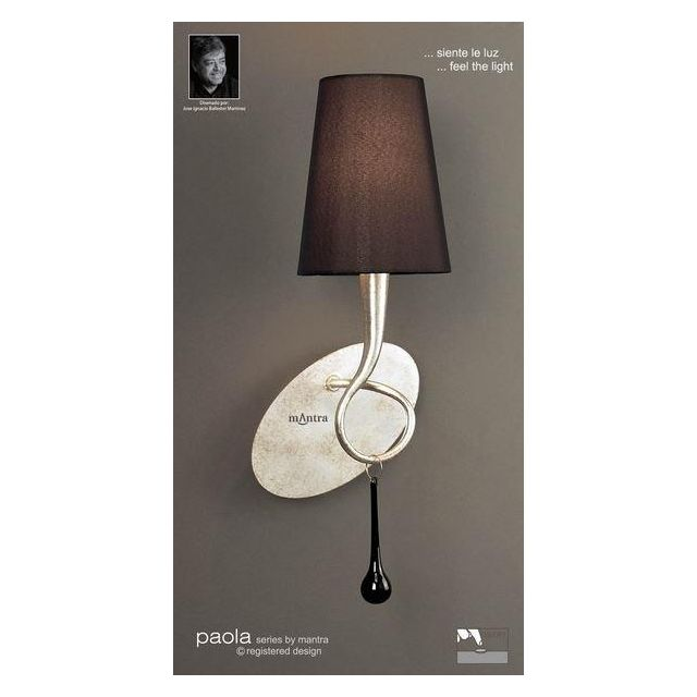 M0538/S Paola 1 Light Silver Switched Wall Lamp With Black Shade