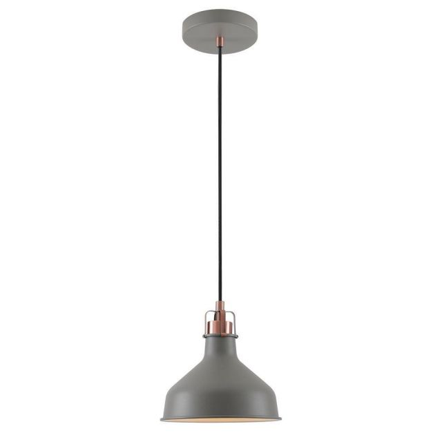 Ryde 1 Light Small Ceiling Pendant In Sand Grey, Copper And White - Dia: 190mm