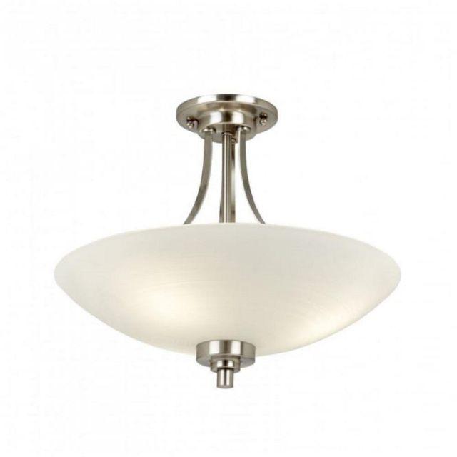 Endon WELLES-3SC 3 Light Grooved Glass Satin Chrome Semi Flush Ceiling Light