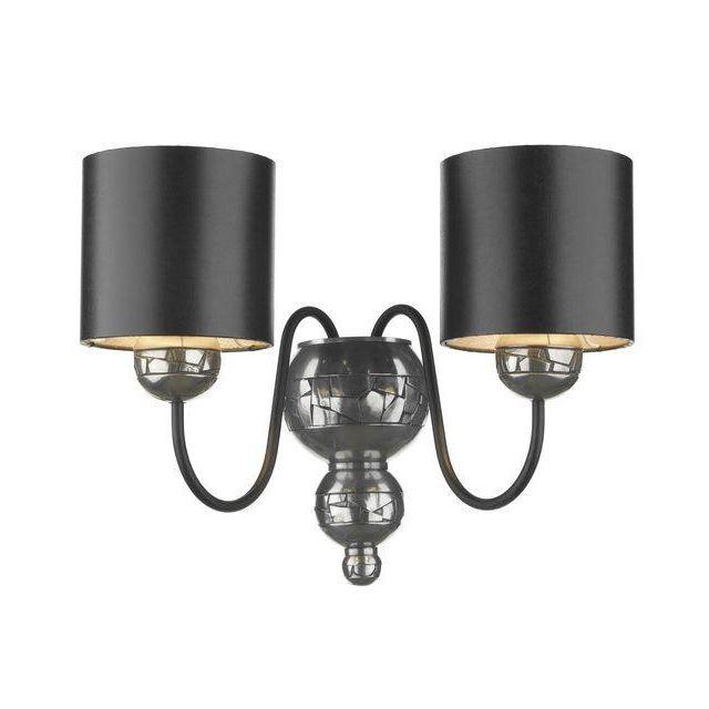 David Hunt Lighting GAR0921 Garbo 2 Light Pewter Wall Lamp With Black Shades