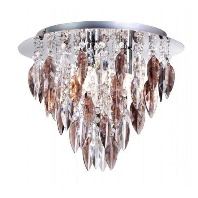 Willazzo 3 Light Flush Ceiling Fitting In Chrome With Smoked Droplets