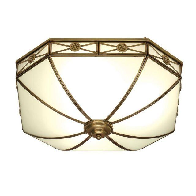 Interiors 1900 SN04FL50 Bannerman 4 Light Flush Ceiling Light In Antique Brass