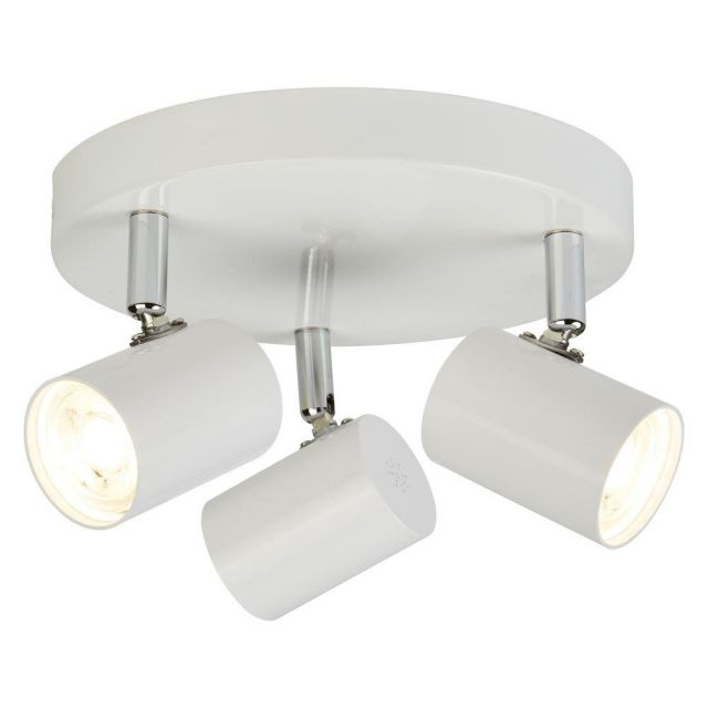 Searchlight 3173WH Rollo Three Light Ceiling Spotlight In White And Chrome