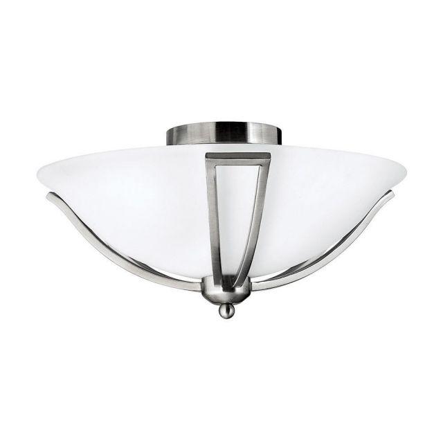 HK/BOLLA/F 2 Light Brushed Nickel & Opal Glass Flush Light