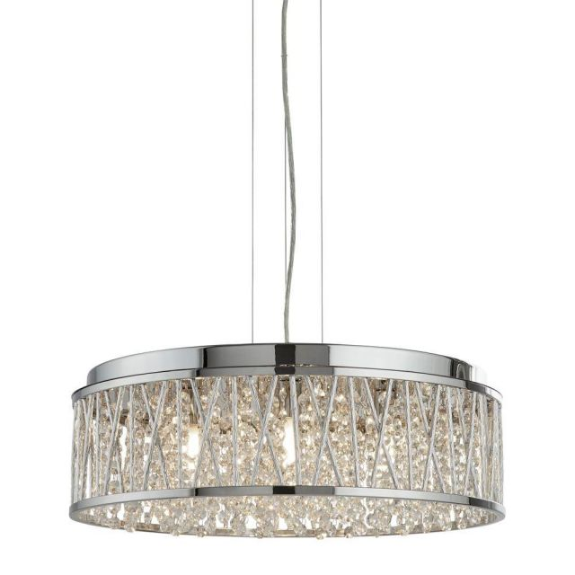 Searchlight 8337-7CC Elise Seven Light Ceiling Pendant Light In Chrome With Crystal Glass